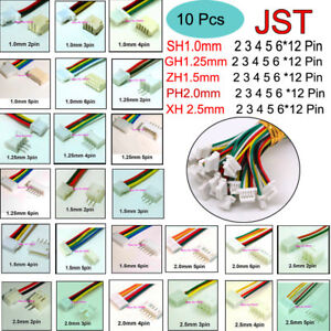 10 Sets JST SH 1.0 ZH 1.5 PH 2.0 XH 2.5 Connector Plug Female & Male with Wire