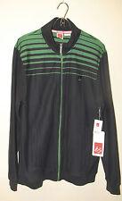 Mens XL NWT - ÉS Athletic Skateboard LS Track Jacket Black + Green Stripes