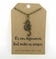 """It's Our Differences That Make Us Unique"" Seahorse Necklace Gift Message Card"