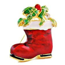 Red, White & Green Enamel Christmas Boot Brooch / Pin NEW
