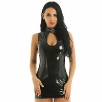 Damen Wetlook Bodycon Kleid Minikleid mit Stehkragen Leder-Optik Gogo Clubwear