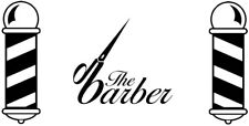 large the barber scissors pole shop front window vinyl sticker sign wall art cut