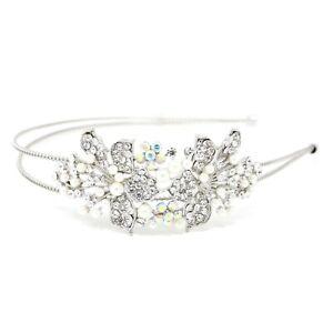 Wedding Rhinestones/pearl flowers silver Metal Head Jewelry Headband Head Piece