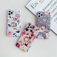 For iPhone 11 SE XR 6 7 8 Plus XS Max Case Flower Ring Holder Fashion Phone Case