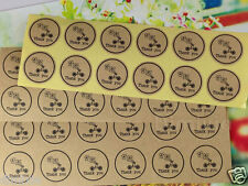 24X THANK YOU BIRTHDAY SEAL PARTY KRAFT WEDDING FAVOURS LABEL STICKER BOMBONIERE