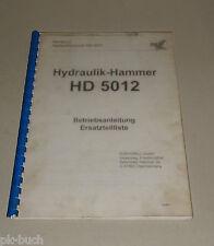 Bedienungsanleitung und Teilekatalog Eurodrill Hydraulik-Hammer HD 5012 06/1998