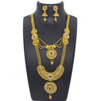 Indian Multi Color Long Necklace Earrings CZ Kundan Rani Haar Bridal Jewelry Set