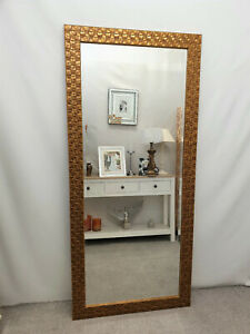 Large Antique Gold Mosaic Wood Frame Wall Mirror Bevelled Edge 167x76cm