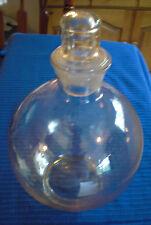 VTG LT GOLD BLOWN BUBBLE GLASS BOTTLE DECANTER w/Glass Stopper FLAT BASE