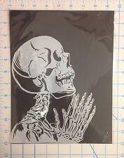 Praying Skeleton mylar reusable stencil 10 mils for Airbrush design art & craft