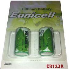 2 Piles CR123  CR123A 3V LITHIUM 1500mAh Eunicell APPAREIL PHOTO Grande Capacité