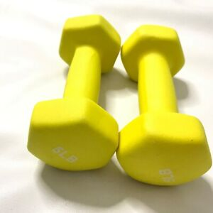 Pair of 5lb Neoprene Dumbbells Body Sculpting Hand Weights Muscle Workout Yellow