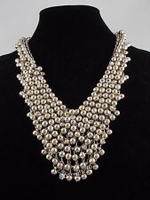 Steve Madden Silvertone Metal Mesh Faceted Bead Crystal Accent Bib Necklace $58