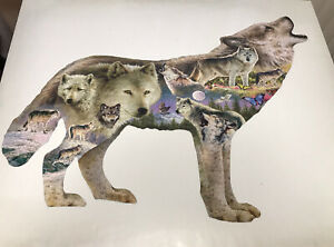 SunsOut Meadow Wolf 750 Pc Shaped Jigsaw Puzzle by Greg Giordano Pre-Owned