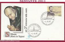 ITALIA FDC FILAGRANO S. ALFONSO MARIA DE LIGUORI 1987 ANNULLO TORINO Y177