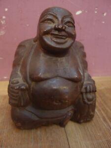 "ANTIQUE CARVED WOODEN ""SMILING BUDDAH"" CLASSICAL SCULPTURE FIGURINE 20cm HIGH"