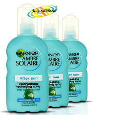 3x Garnier Ambre Solaire After Sun Refrescante Hidratante Crema Hidratante Spray 200ml