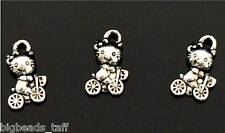 10pcs cute bike riding hello kitty metal charms finding 12mm jewel making