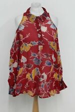 NEXT Ladies Red Floral Long Sleeve Cold Shoulder Blouse Top Size EU34 UK6 NEW