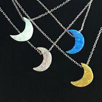 925 Silver Moon Blue Pink Natural Fire Opal Gemstone Pendant Necklace Choker Lot