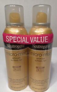 2 Pack Neutrogena Micro Mist Airbrush Sunless Tan Deep 5.30Oz Each