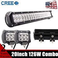 """20""""IN 126W CREE LED Light Bar Offroad Tractor SUV Car ATV UTE 4WD Truck +2X18W"""