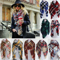 US Women's Blanket Oversized Tartan Scarf Wrap Shawl Plaid Cozy Checked Pashmina