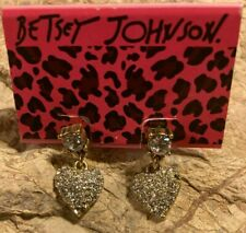 Crystal Heart Drop Dangle Pierced New Betsy Johnson Love Me