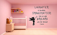 Wall Decal Sticker Bedroom Decor Tinkerbell Quote Letters Nursery Cartoon bo2519