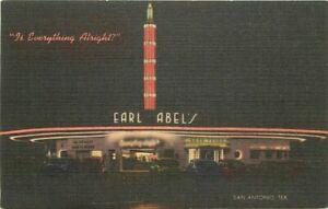1940s San Antonio Texas Earl Abels Drive-in Restaurant Advertising Postcard