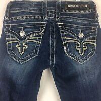 Rock Revival women's Jeans Jen Sz 25 Capri Cropped dark wash EUC Flap pkt