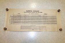 Vintage 1938 St. Joseph County Indiana Voting Machine Sample Ballot