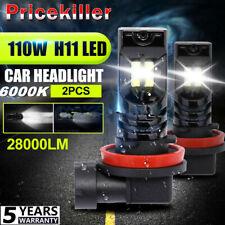 Pair H11/H9/H8 110W CSP LED Headlight Conversion Hi/Lo Super Bright Canbus 6000K
