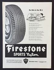 Magazine Advert FIRESTONE SPORTS NYLON Tyres CAR1961 Full Page VINTAGE