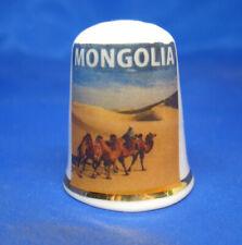 Birchcroft China Thimble -- Travel Poster Series - Mongolia - Free Dome Box