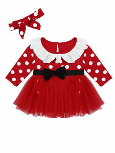 Newborn Baby Girls Romper Christmas Dress Outfits Santa Party Bodysuit Clothes