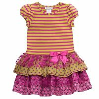 RARE EDITIONS Girls Pink Lime Dots Tiered Ruffled Tutu Party Dress Size 4 6 NWT