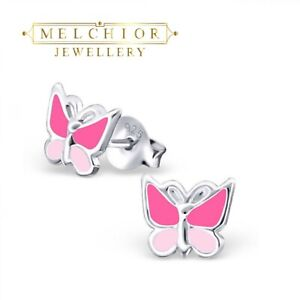 Childrens Girls Sterling Silver Pink Butterfly Stud Earrings Gift Box