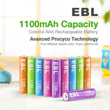 EBL 10Pcs AAA Rechargeable Batteries 1.2V 1100mAh Ni-Mh Colorful Battery W/ Case