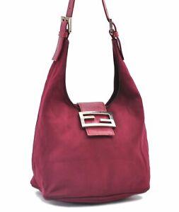 Authentic FENDI Mamma Baguette Shoulder Hand Bag Canvas Leather Purple E0463