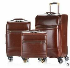 "Men Travel Suitcase Spinner Trolley Leather Rolling Wheels Suitcase 18"" 20"""