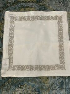 """Boll & Branch Embroidered Vine Organic Cotton  Pillow Cover 20""""X20"""" $78"""