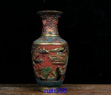 "12.12"" Asia Old China antique red Lacquer ware Caihui carving landscape vase"