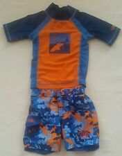 592ab79078 UV Skinz Baby Boy Swim Trunks Rashguard 12-18m Sharks Orange Blue Sun  protection