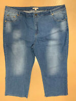 New! WOMAN WITHIN plus size petite 28W light wash blue straight wide leg jeans