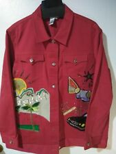 Diane Gilman Red Denim Jacket Beads Sequins 2X