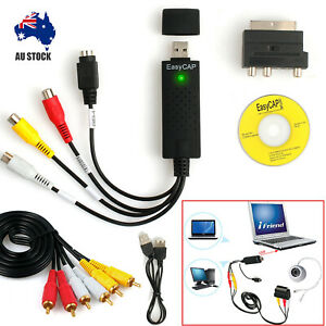 Capture Converter PC Adapter Cable +USB 2.0 to 3 RCA Audio S-Video TV VHS DV DVD