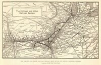 1909 Antique CHICAGO and ALTON RAILROAD Map Vintage Railway MAP 7756