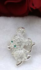 brooch pin Silvertone mouse rat rodent clear rhinestones