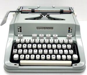 Vintage Hermes 3000 Portable Typewriter Seafoam 1969 Switzerland Platen Issue
